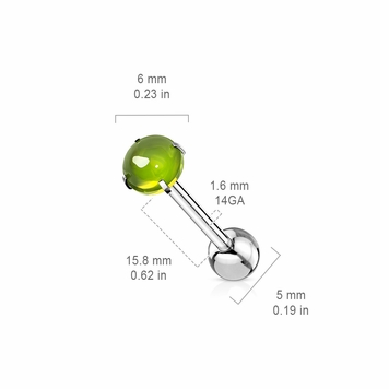 Barbell Tongue Ring Prong Set Zircon Cabochon Stone  Surgical Steel 14 Gauge
