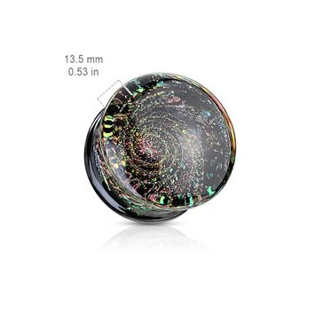 Pair of Multi Color Sparkle Galaxy Double Flared Glass Plugs