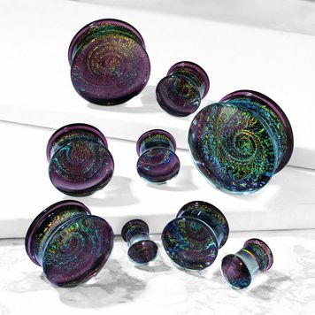 Pair of  Purple Galaxy Swirl Double Flared Glass Plugs