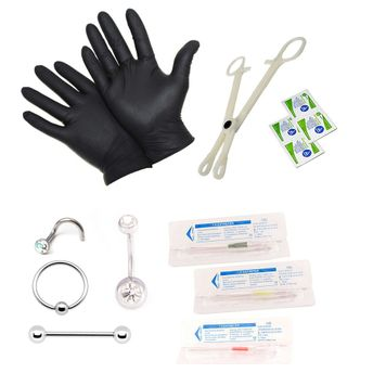 Piercing Kit for Belly Tongue Ear Nipple Lip Nose and Body