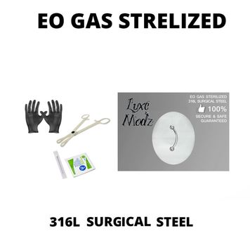 Piercing Kit Sterilized 316L Surgical Steel Curved Barbell Ring 16G 3/8 Forceps Clamps, Needles, Gloves And Jewelry