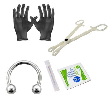 Piercing Kit Sterilized 316L Surgical Steel Horseshoe Ring 16G Forceps Clamps, Needles, Gloves And Jewelry