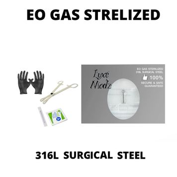 Piercing Kit Sterilized 316L Surgical Steel Labret Lip Ring 16G 3/8 Forceps Clamps, Needles, Gloves And Jewelry
