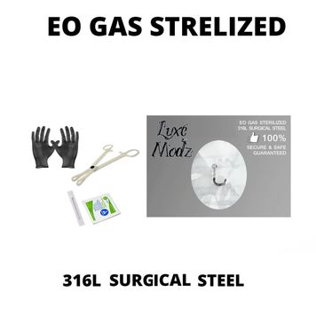 Piercing Kit Sterilized 316L Surgical Steel Nose Screw 20G Forceps Clamps, Needles, Gloves And Jewelry