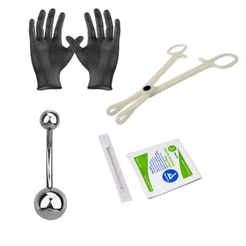 "Piercing Kit Sterilized Titanium Belly Button Ring 14G 7/16"" Forceps Clamps, Needles, Gloves And Jewelry"