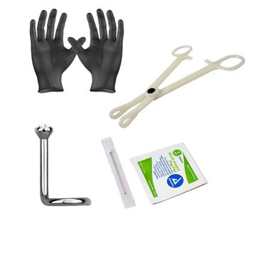 Piercing Kit Sterilized Titanium Nose Screw 18G Forceps Clamps, Needles, Gloves And Jewelry