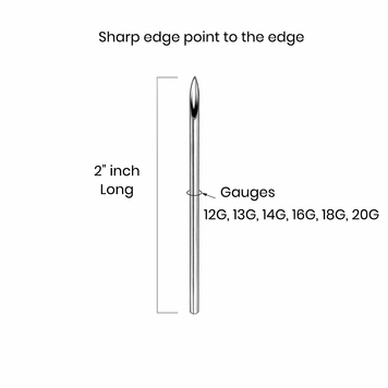 """Piercing needles Straight 2"""" sealed and Sterilized ready to use individually pack Box 100"""