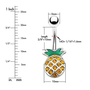 Pineapple Design Multiple Small CZ Belly Button Ring Surgical Steel 14ga