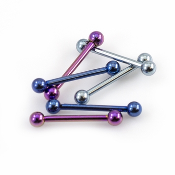 Pack of 6 Straight Mini Barbells 16g Anodized Titanium 3/8in - 10mm