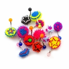 Pack of 12 Randomly Picked Silicone Spike Belly Button Rings 14g