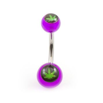 Pack of 5 Pot Leaf Design Acrylic Belly Button Rings 14g - Assorted Colors