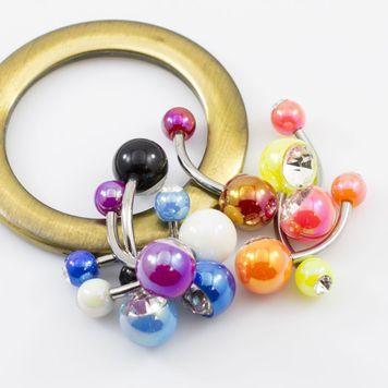 Pack of 9 Acrylic Belly Button Rings with Double CZ Balls -Assorted Colors 14ga