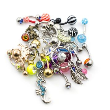 Pack of 24 Belly Button Rings Randomly Picked 14g