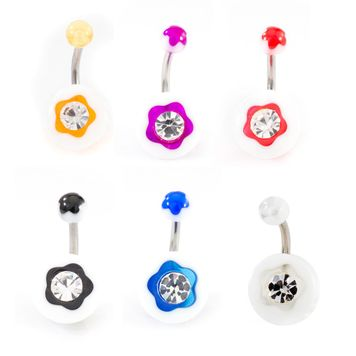 Pack of 6 Acrylic Flower Design and CZ Jewel Belly Button Ring 14ga 3/8 - 10mm - Assorted Colors