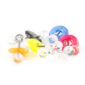 Pack of 6 316L Tongue Straight Barbells with Clear Acrylic Balls and Assorted Color Acrylic Doughnuts  14ga 5/8-16mm