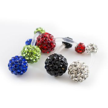 Pack of 5 Belly Button Ring with Bioflex Shaft and Ferido Ball- Assorted Colors 14ga 3/8