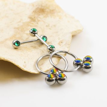 Nipple Ring Package of two Captive Ring Rainbow Design and two Barbells with Cz 16g