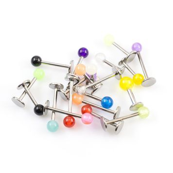 Labret Monroe Value package of 20 (14g and 16g) variable Lengths with Full color Acrylic Ball