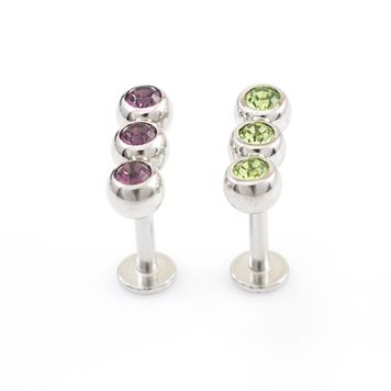 Labret Jewelry Pack of 2 with Cubic Zirconia Design Perfect for Cartilage piercings 14g