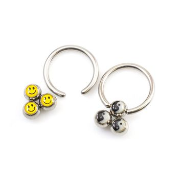 Nipple Ring package of Captive ring two pairs with Smiley Face and Yin Yang Designs 14g
