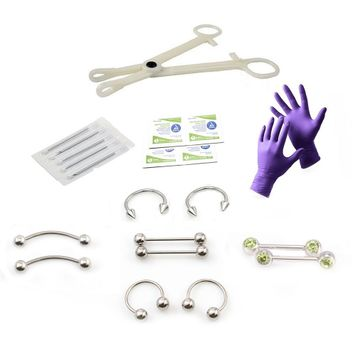 Liongothic Professional Nipple Piercing Kit- 16ga Disposable Forceps, Gloves, Alcohol Pads, Needles and Jewelry Surgical Steel