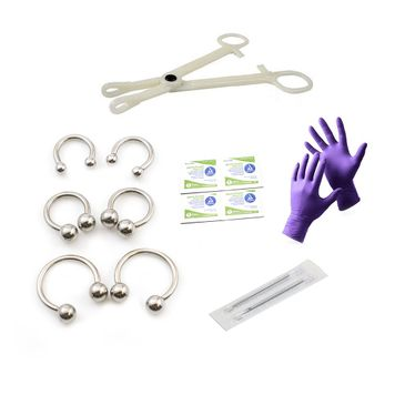 Liongothic Professional Piercing Kit- 12ga Disposable Forceps, Gloves, Alcohol Pads, Needles and Surgical Steel Horseshoes