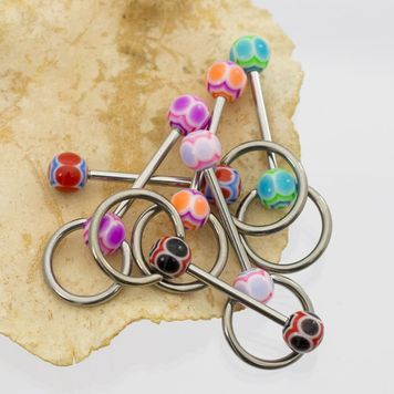 Pack of 6 Tongue Barbells with Door Knocker Design and Acrylic Balls 14ga