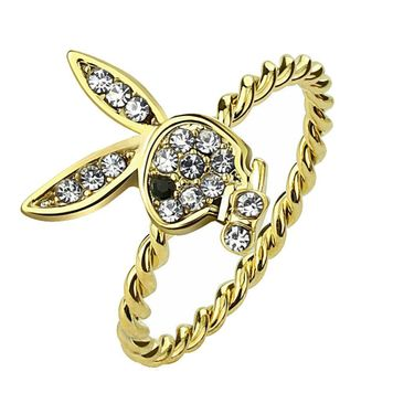 Playboy Bunny Gold Ion-Plated Rope Ring Gem Paved