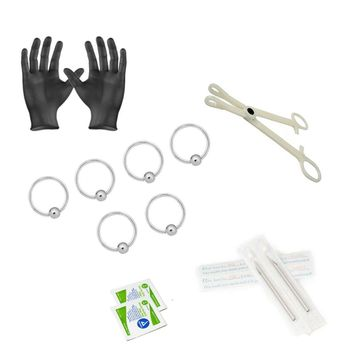 12-Piece Captive bead Piercing Kit - Includes (6) 14g Captive bead rings, (2) Needles, (1) Forceps, (2) Alcohol Wipes and a Pair of Gloves