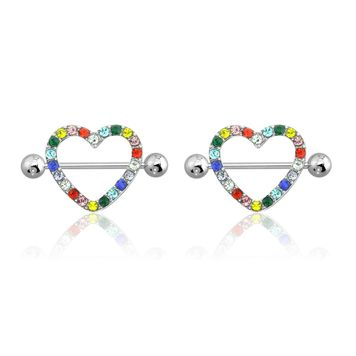 """AB Gem Paved Heart Nipple Shield Ring Piercing jewelry 14G 3/4"""" Length - Multi Color"""