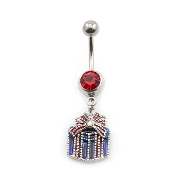 Present Box with Bow Dangle Belly Ring