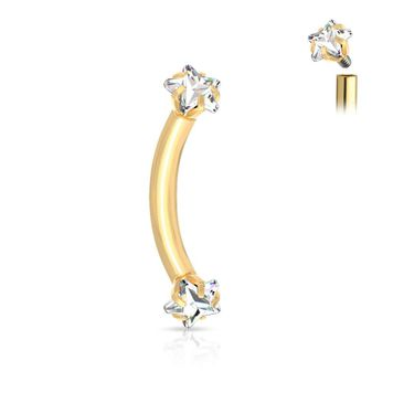 Prong Set Star CZ Ends Internally Threaded Surgical Steel Curved Eyebrow Barbell 16ga Sold Each