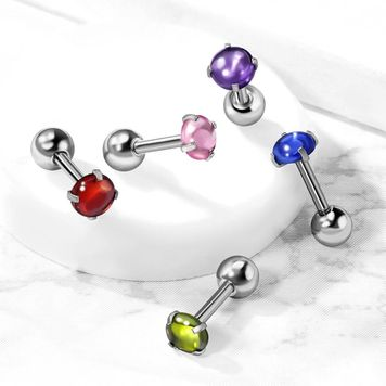 Prong Set Zircon Cabochon Stone Surgical Steel Cartilage, Tragus Barbell Stud 16ga
