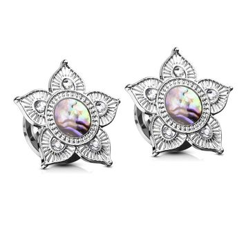 Abalone Shell Centered Tribal Flower Top Surgical Steel Screw Fit Plugs- Sold as a Pair