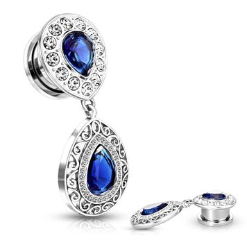 Pair of Crystal Paved Blue CZ Center Upside Down Tear Drop with Blue CZ Filigree Tear Drop Dangle Screw Fit Plugs