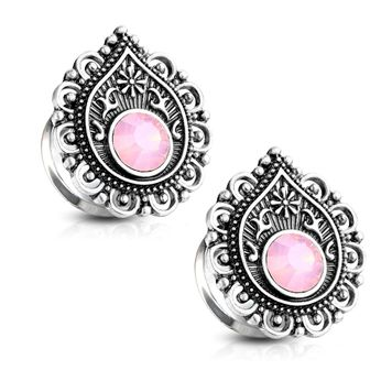Pair of Double Flared Tunnels with Pink Opalite Stone Centered Tear Drop Filigree Front Design Surgical Steel