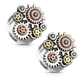 Pair of Three Color Tone Steampunk Geared Double Flared Ear Tunnels Surgical Steel