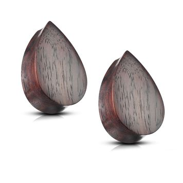 Pair of Ear Plugs made of Organic Sono Wood Tear Drop Shape Double Flared