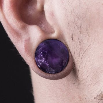Pair of Amethyst Tone Domed Single Flare Plugs O-Rings- 6g to 5/8in