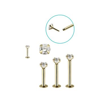 Push in Monroe Labret 14kt Solid Yellow Gold with Prong CZ 16 Gauge- Sold Each