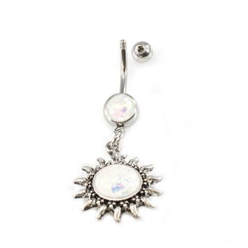 Belly Button Ring 14G Sun Dangle Aurora Borealis Opalite Navel Piercing Jewelry