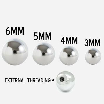 Pack of 6 Replacement Screw Balls 18G 16G 14G Surgical Steel for Any Externally Threaded Body Jewelry Shaft