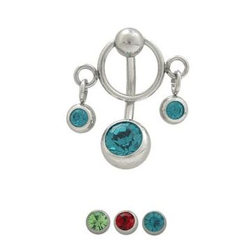 Reverse Design 14 gauge Belly Button Ring Surgical Steel with Jewels