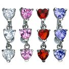 Reversed Dangler Triple Hearts Belly Button Ring 14ga 3/8- 10mm