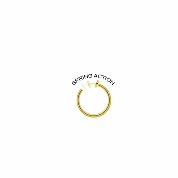 Rhodium Plated Gold Color Non-Piercing Dangling Flower Spring Hoop Belly Clip