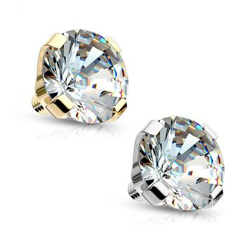 Round Prong Set Gem 14 Karat Solid Gold Dermal Top Internally Threaded