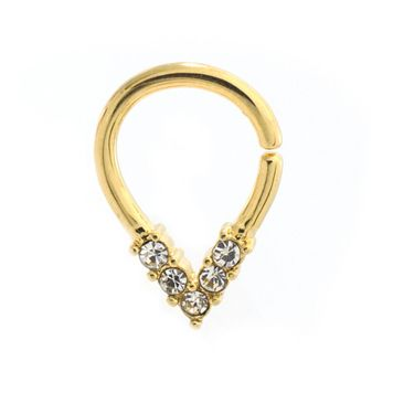 Pear Shaped Bendable Cut Ring with 5 CZ Lined Design for Septum, Cartilage, Tragus Made of Surgical Steel