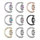 Crescent Moon with Crystal Design Ear Cartilage, Daith Hoop ,Tragus Ring 18ga 16ga Surgical Steel -Sold Each