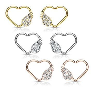CZ  Bendable Paved Angel Wing Heart  Ear Cartilage, Daith Hoop Ring - Left or Right Ear 16g - Sold Each