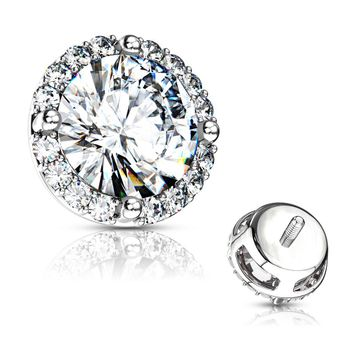 Round Prong Set CZ Center with CZ Around Internal Threaded Dermal Anchor Tops Surgical Steel 14ga
